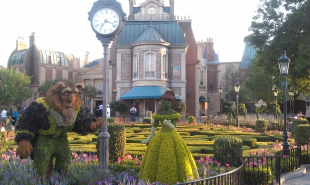 Beauty and the Beast topiaries near France