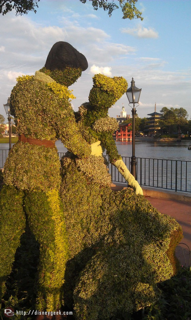 Cinderella and Prince Charming topiary in Epcot