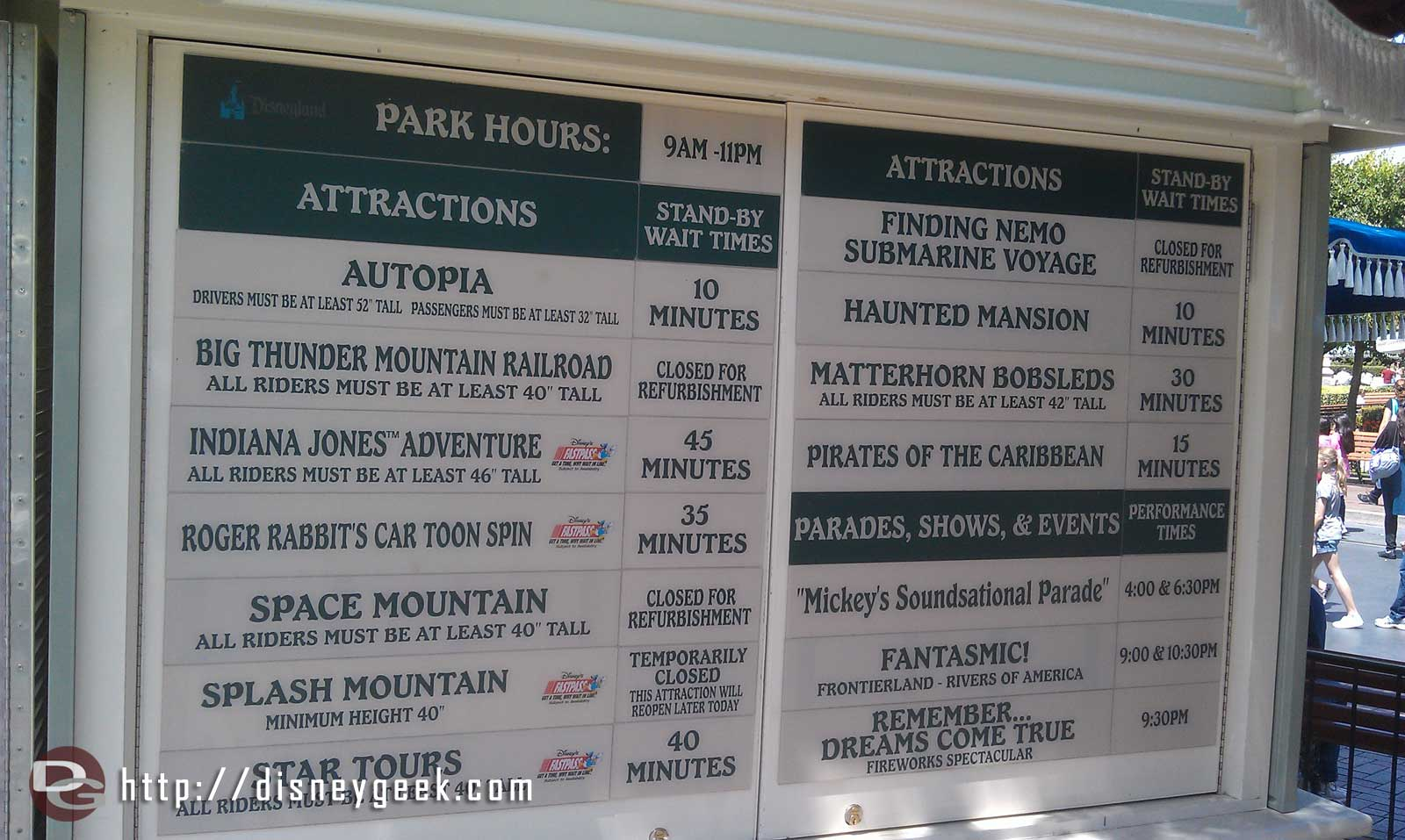 Current #Disneyland waits, a lot closed/down right now Space, Splash, Big Thunder and Nemo all closed