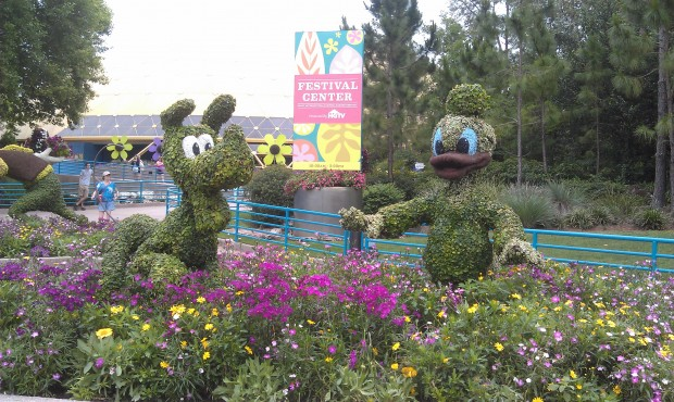 Donald and Pluto topiaries near the Festival Center