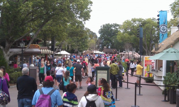Epcot World Showcase is fairly busy this evening
