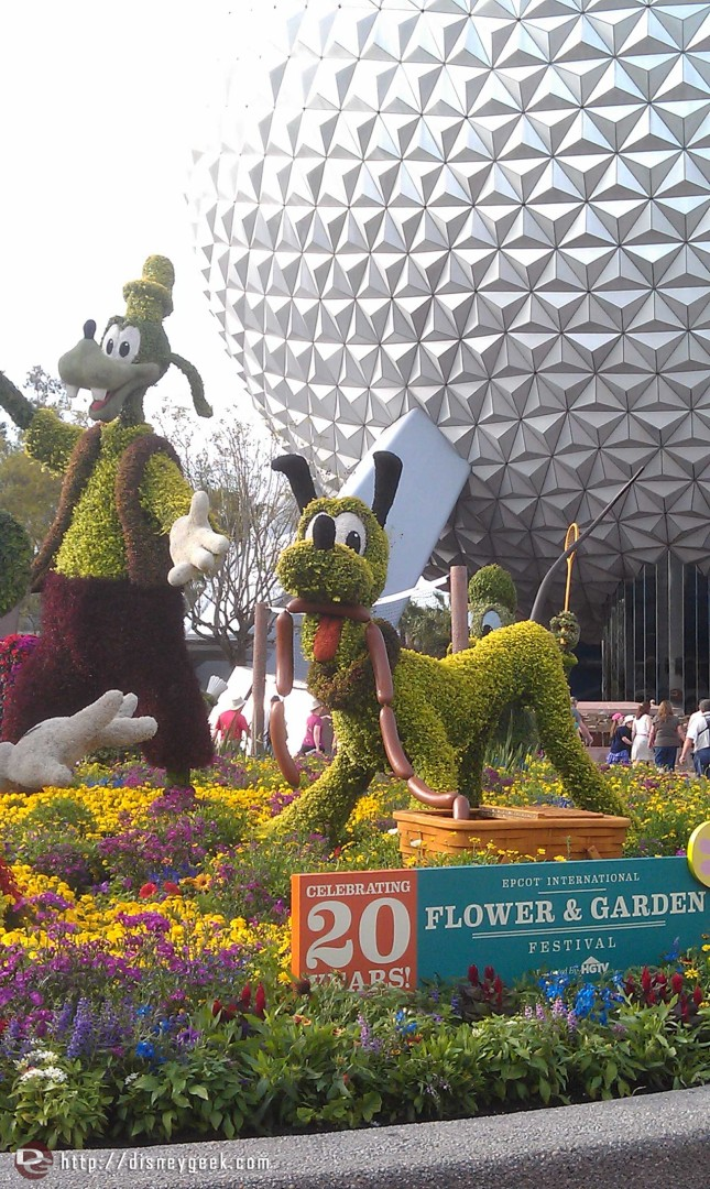 Epcot entrance topiary display
