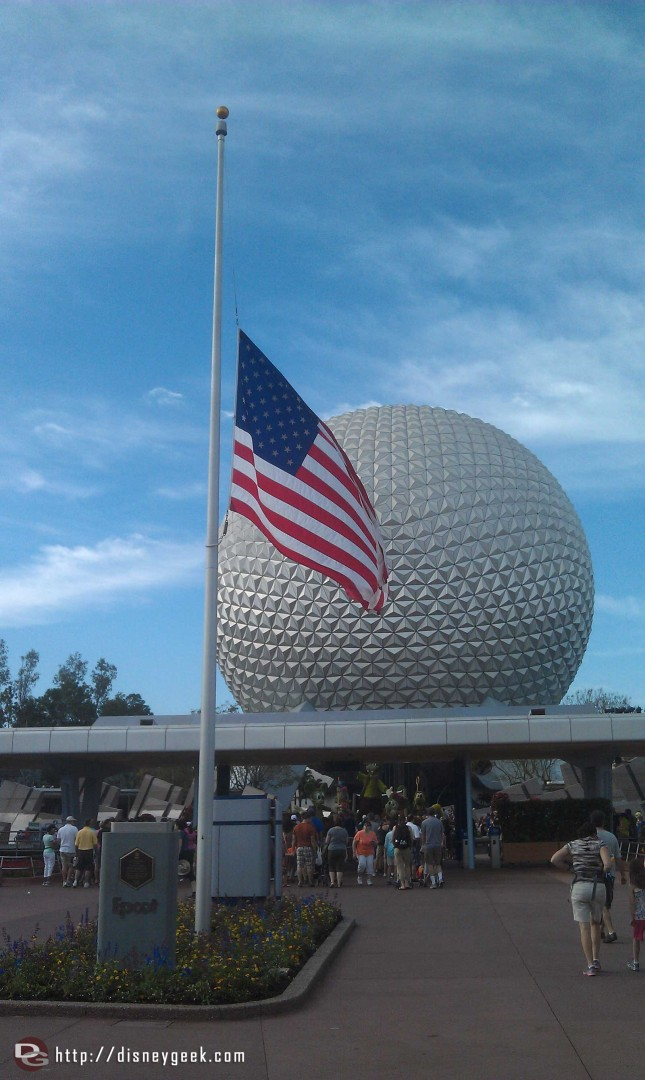 Flags are at half staff at Epcot