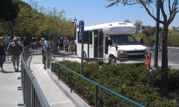 Just artived at the #Disneyland Resort.  They were testing out a new location for the shuttles.