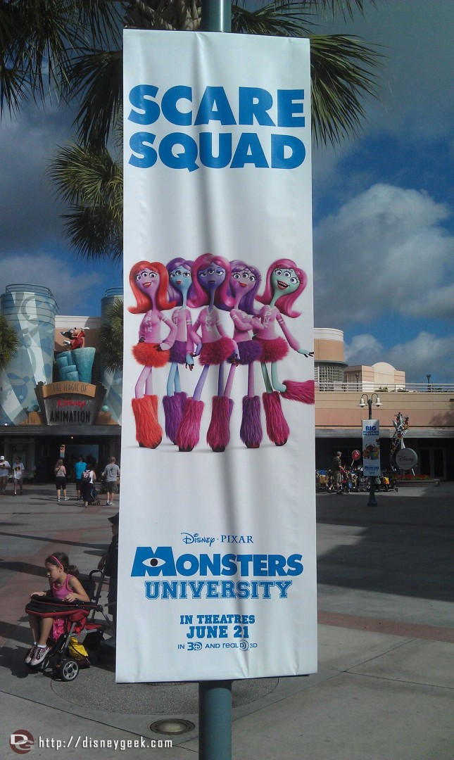 Monsters University banners in the Animation Courtyard