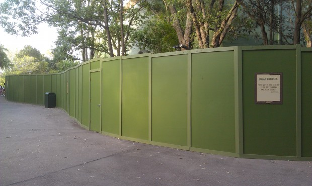 More walls, this time between Theater in the Wild and DinoLand