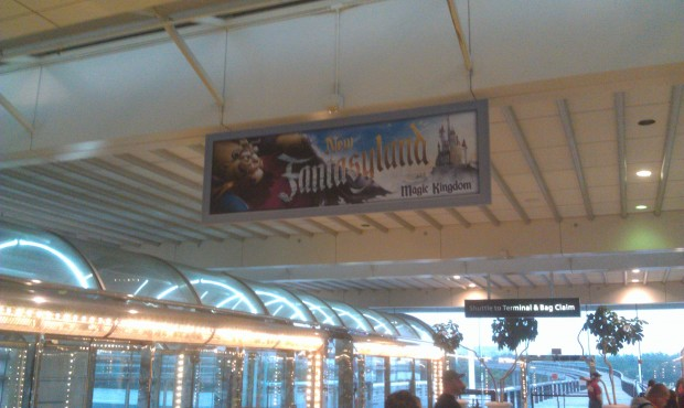 New Fantasyland sign at the Orlando airport.