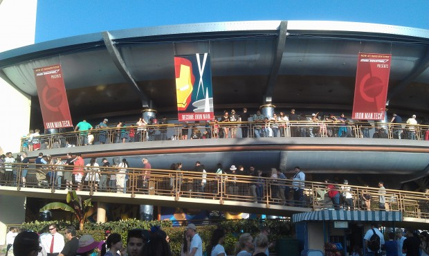 Probably a record setting line to enter Innoventions this evening for the AP preview of the Iron Man 3 exhibit.