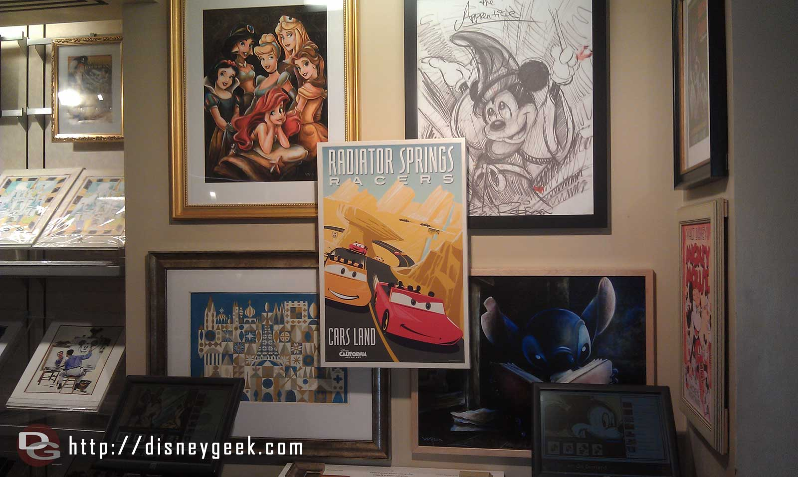 Radiator Springs Racers attraction poster front and center in the Animation Gallery