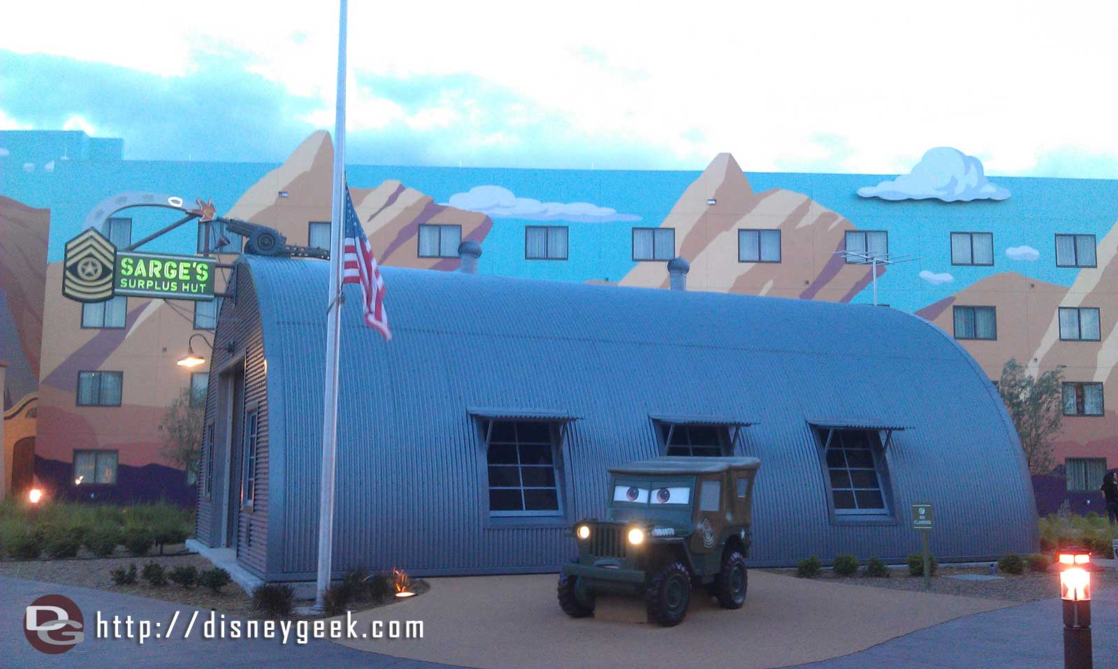 Sarge out by his Surplus Hut.   Notice the flag is at half staff today.