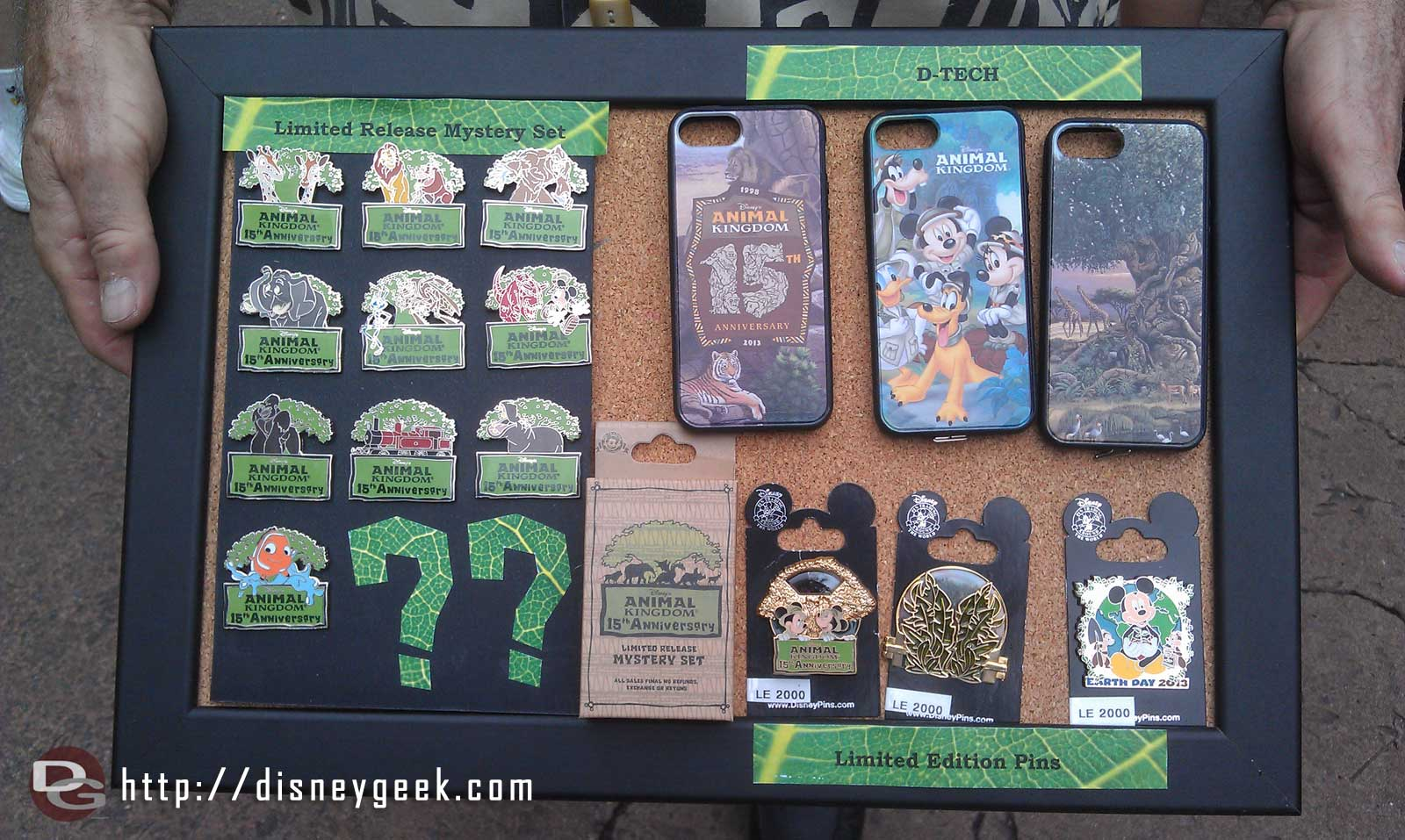 Some of the #DAK15 merchandise(pins and iPhone cases) that is/was available