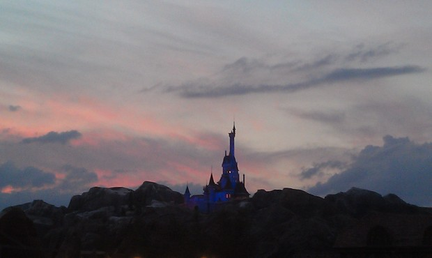 The Beast's Castle as the sun is setting