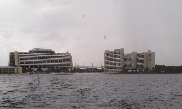 The Contemporary and Bay Lake Tower as we crossed Bay Lake.  Had a couple minutes of rain.