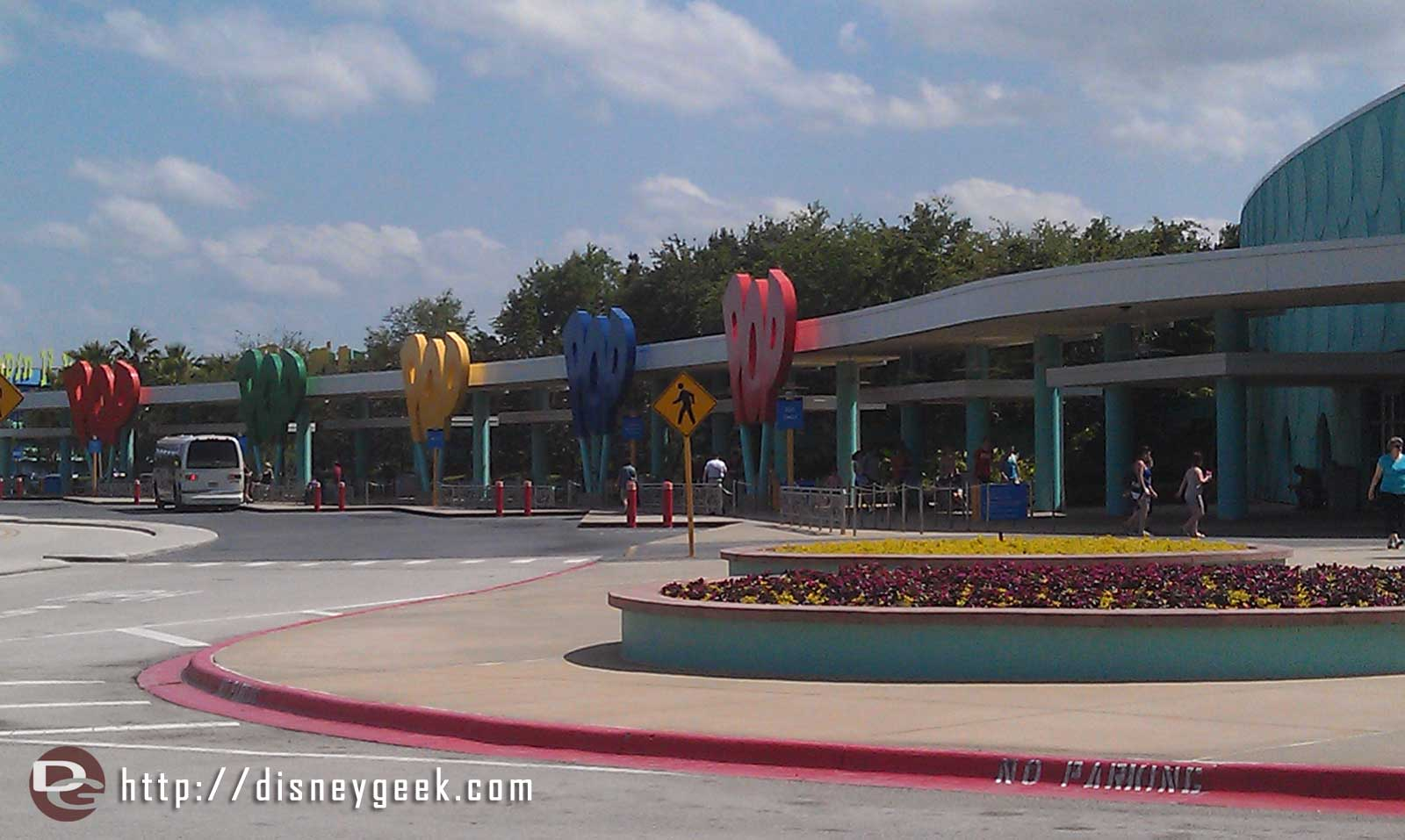 The Pop Century bus stops.
