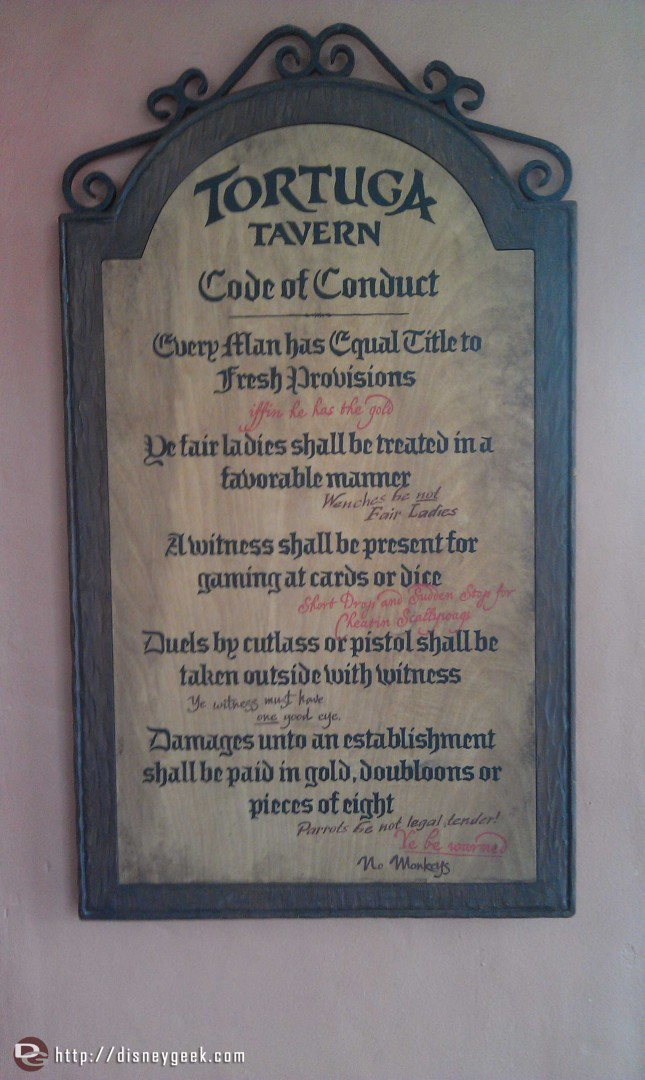 The Tortuga Tavern code of conduct