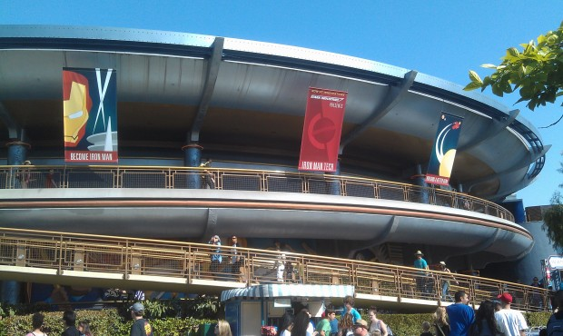 The banners on the outside of Innoventions feature Stark Industries Iron Man Tech