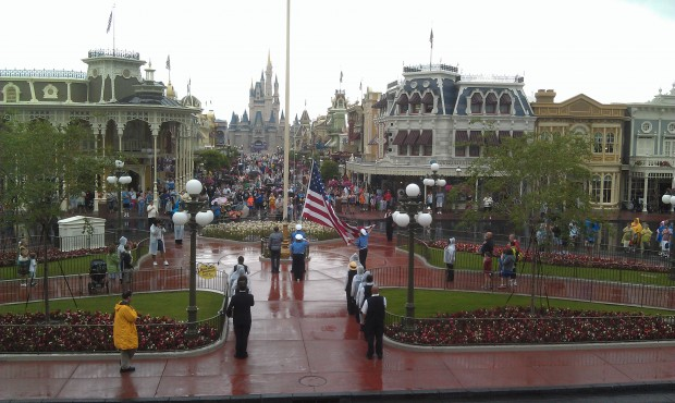 The nightly flag retreat seemed abreviated due to the weather