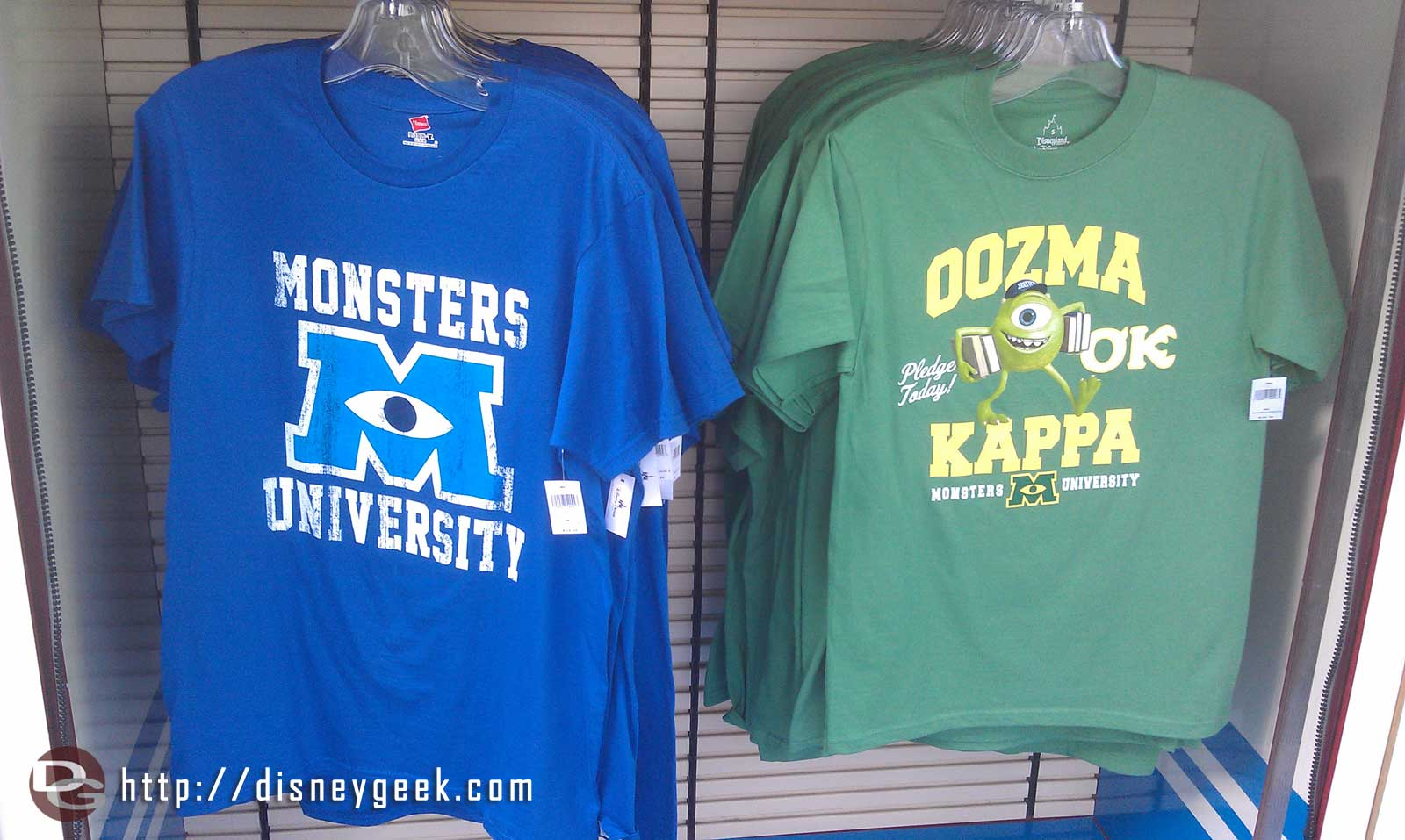 Two of the Monsters University t-shirts