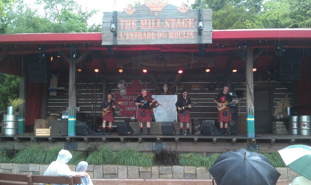 Walked through a wet Epcot, pausing for a little Off Kilter