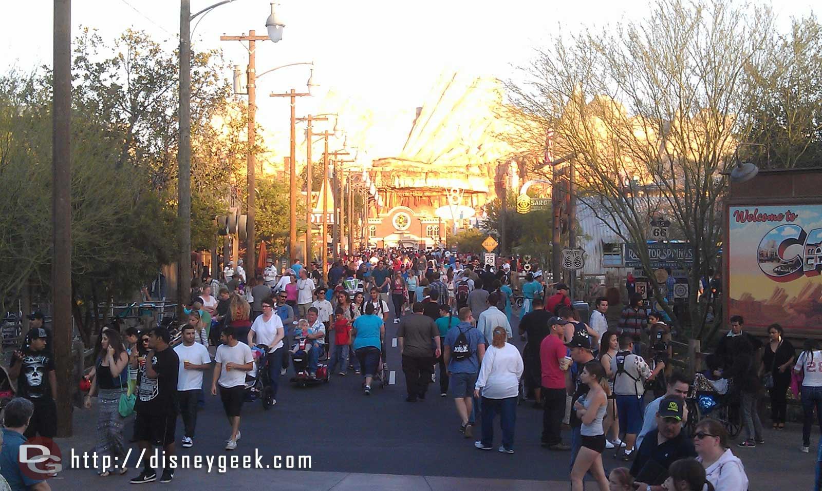 A look down Route 66 in #CarsLand too bad all those people are in the way to see the new surface and lines