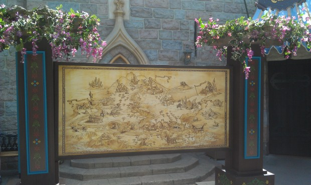 A photo backdrop in Fantasyland for tonights media event