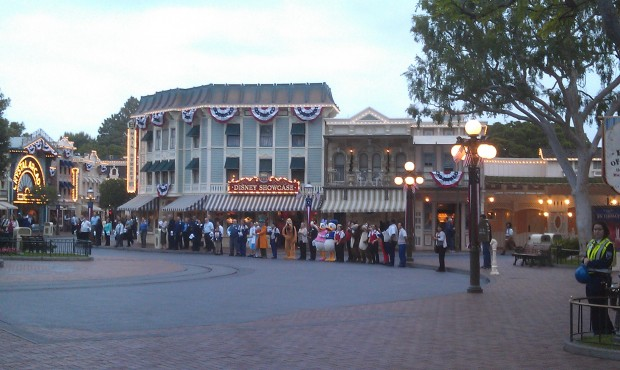 A receiving line of characters and cast members on Main Street USA #JustGotHappier