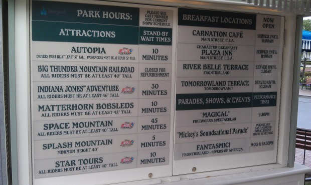 Current #Disneyland waittimes