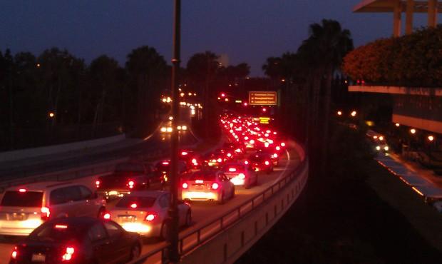 Disneyland drive resembles a parking lot.