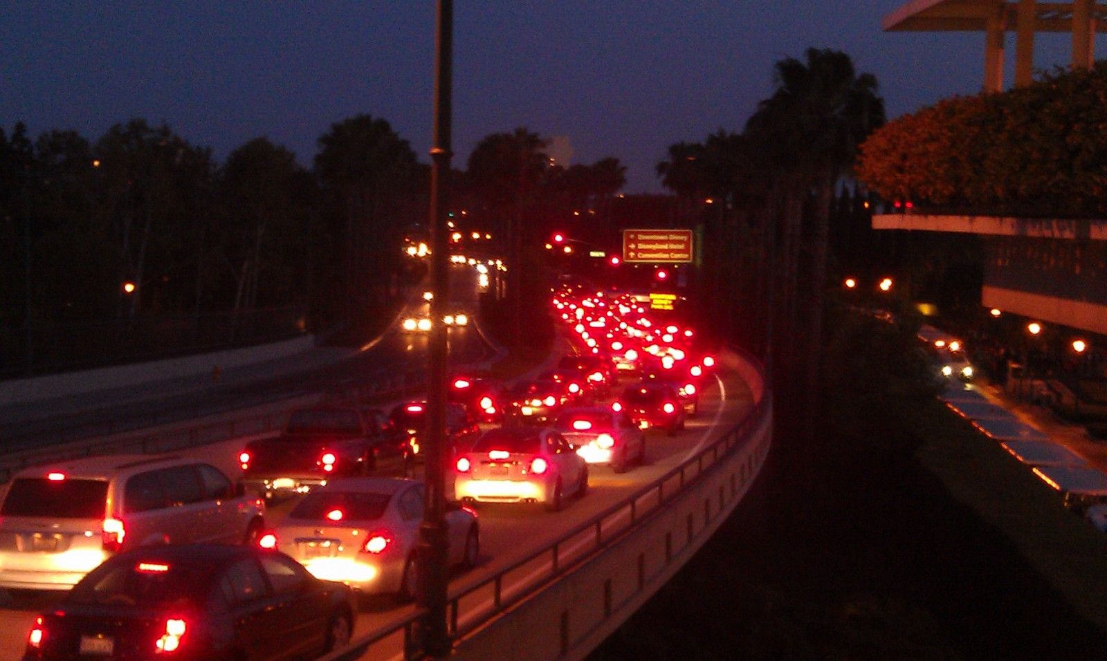 Disneyland drive resembles a parking lot.