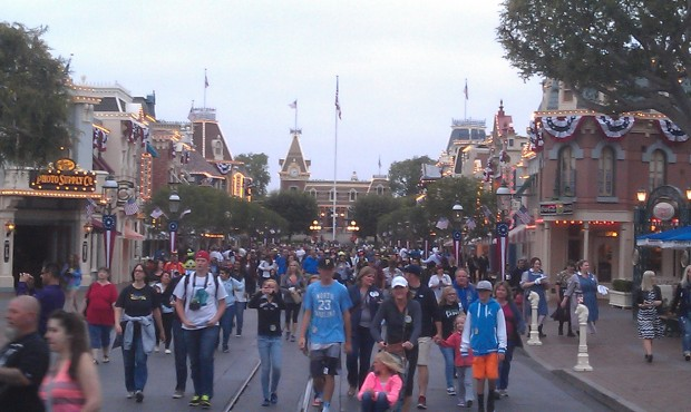 Guests streaming into the park