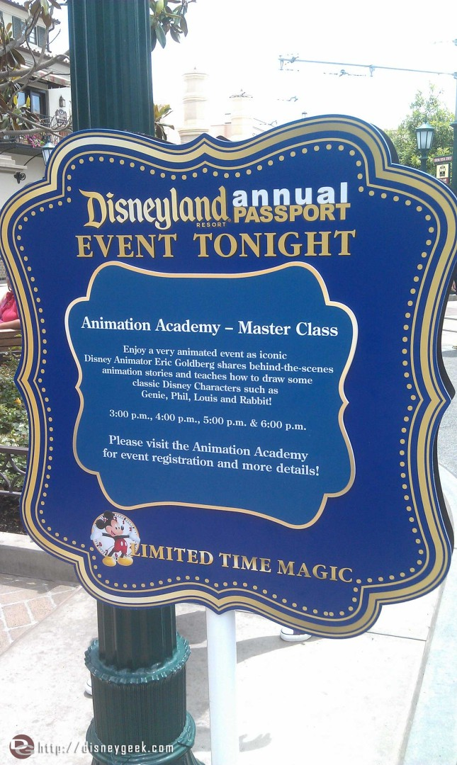 Just arrived at the #Disneyland Resort.  As you enter DCA signs up for todays AP #LimitedTimeMagic event