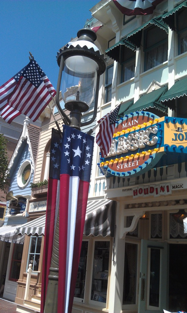 Main Street USA is also ready for summer with  patriotic banners and flags