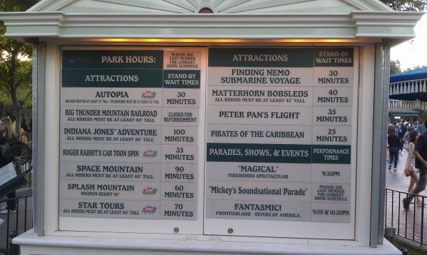 One last look at the #Disneyland wait board before heading out