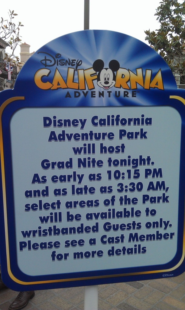 Over to DCA, signs warning about Gradnite closures