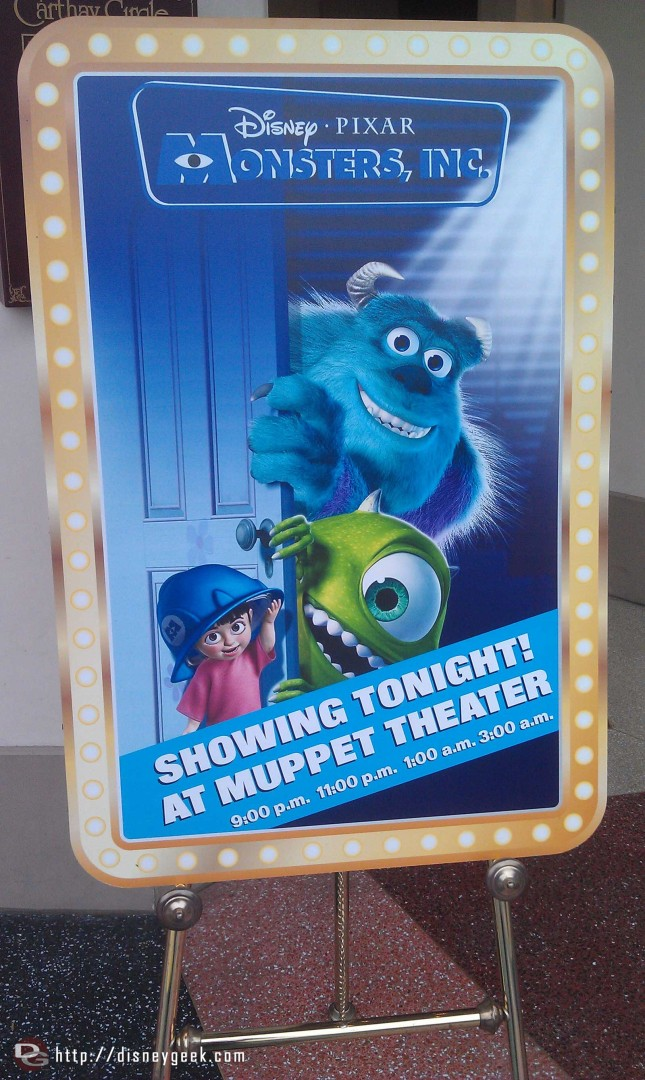 There are screenings this evening of Monsters Inc
