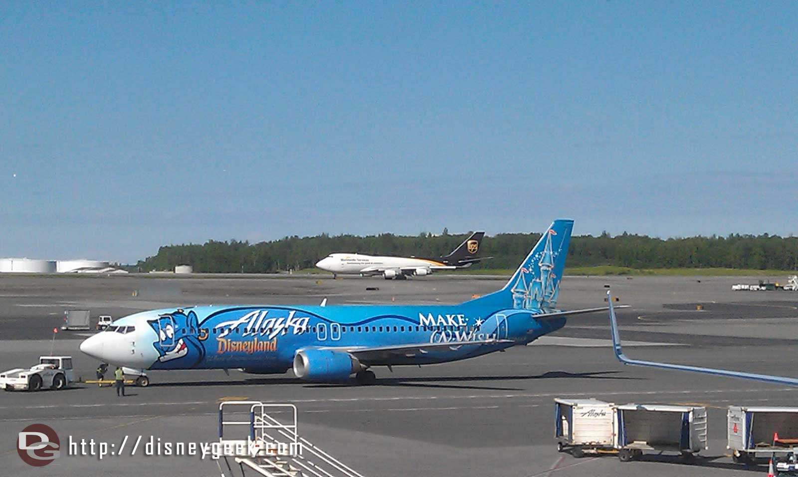 A better picture of the Alaska air Disneyland plane.