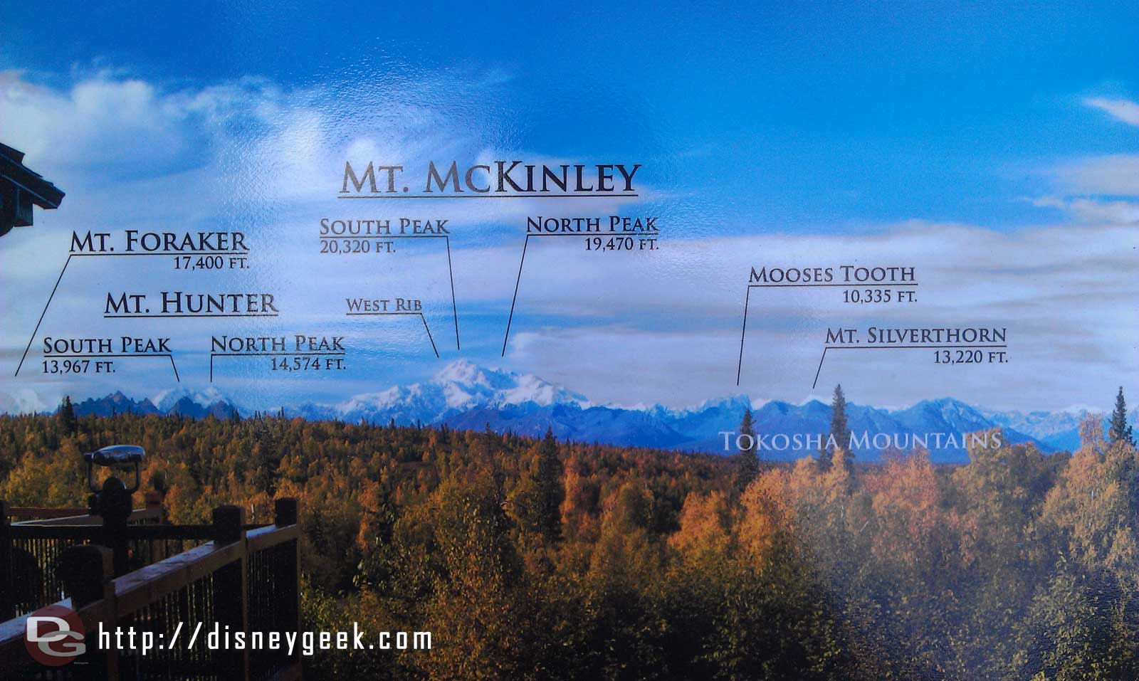 A map showing the peaks and heights Mt McKinley #Alaska