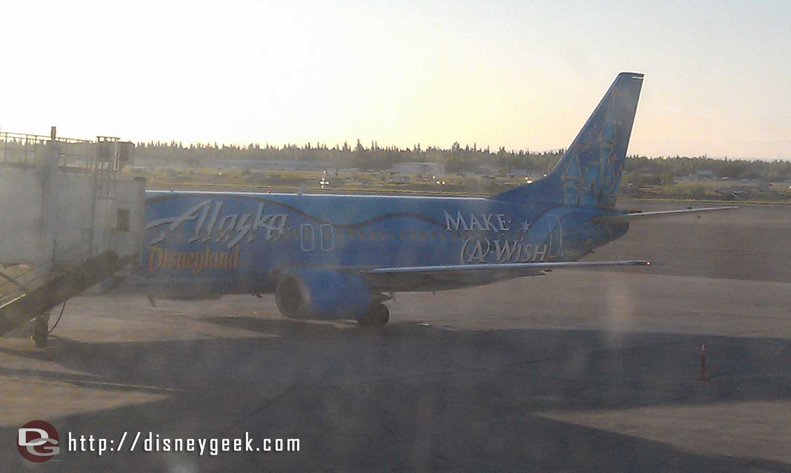 Heading home to LA this morning.  Our plane has a Disneyland / Make a Wish paint scheme.
