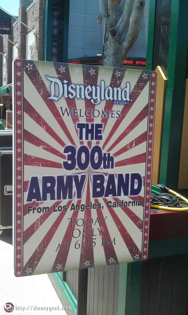 The 300th Army Band will be performing at 6:15 in Downtown Disney
