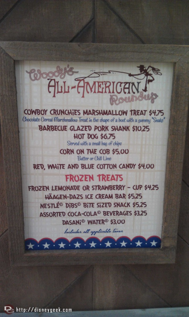 Menu for Woody's All-American Round Up