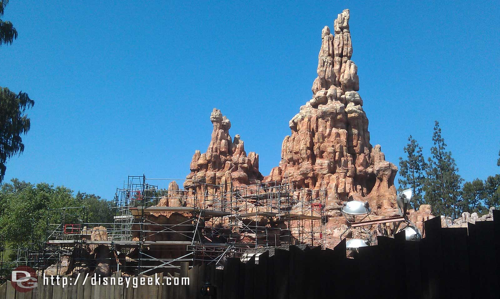Scaffolding is up on some of Big Thunder as the project moves along.