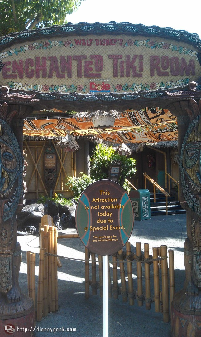 The Tiki Room is closed for an event.  Is this weekend the anniversary event?