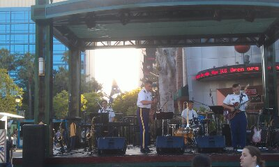 If you wanted to catch the 6:15 Army Band show they are still.doing sound check as of 6:40