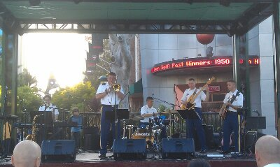 The Jazz component of the 300th army band performing in Downtown Disney