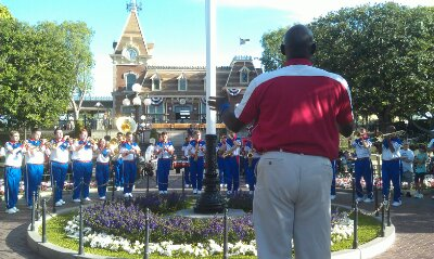 The All-American College Band at the nightly flag retreat in Town Square