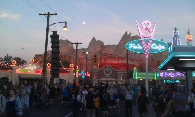 Always a fun moment in #CarsLand when the neon first comes on for the evening