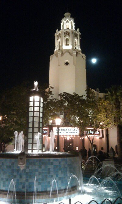 Carthay Circle with the moon in view