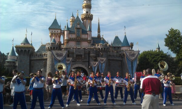 The All American College Band in front of the Castle for their 5:05 set