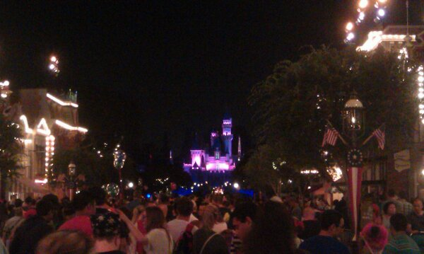 On Main Street USA waiting for Disney's Celebrate America fireworks