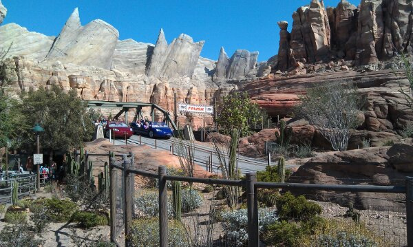 Ornament Valley this afternoon #CarsLand. Only a 90 min wait for the Racers